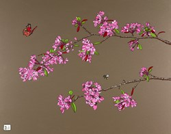 Blossom, Butterfly & Bee by Dylan Izaak - Original Painting on Aluminium sized 28x22 inches. Available from Whitewall Galleries